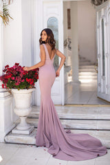 Jovana - Mauve Mermaid Gown with Plunge Neckline & Long Train