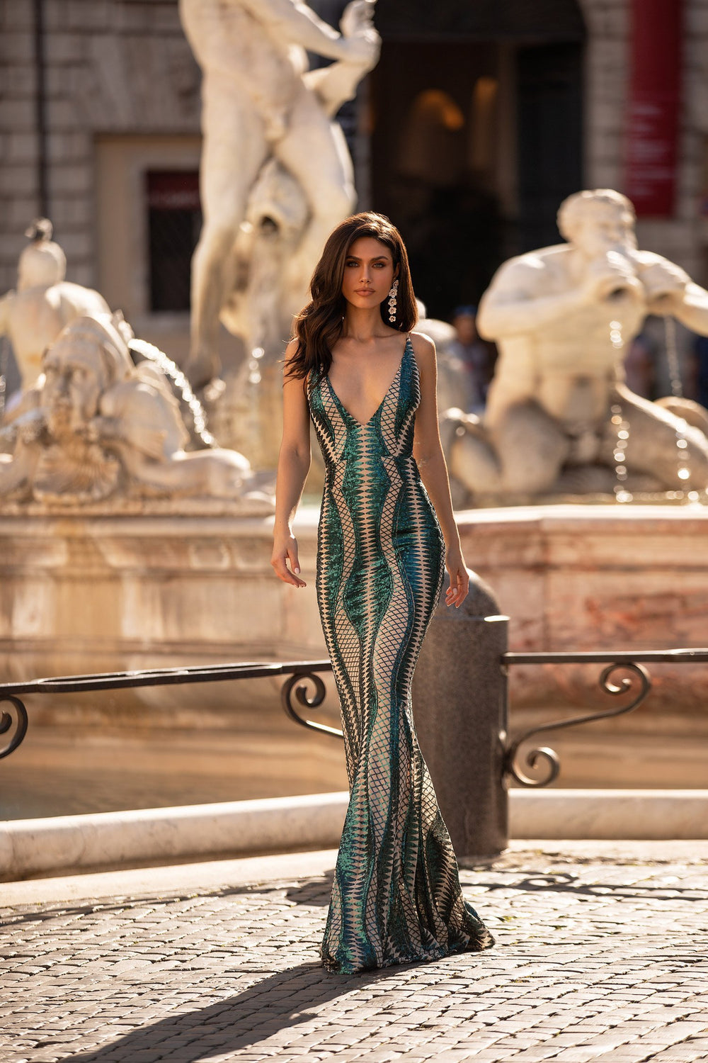Verona - Emerald Patterned Sequin Gown with Lace-Up Back