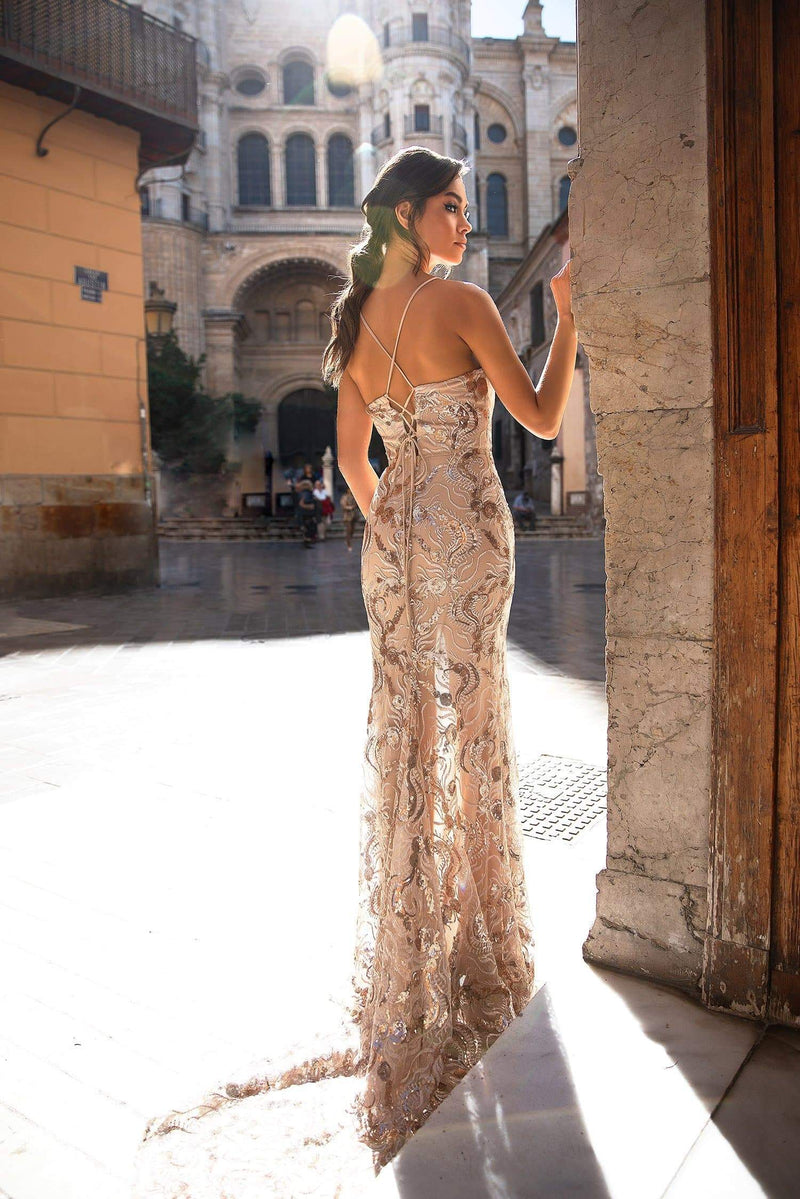 Lyla - Rose Gold V-neck Sequin Gown with Side Slit & Lace-Up Back
