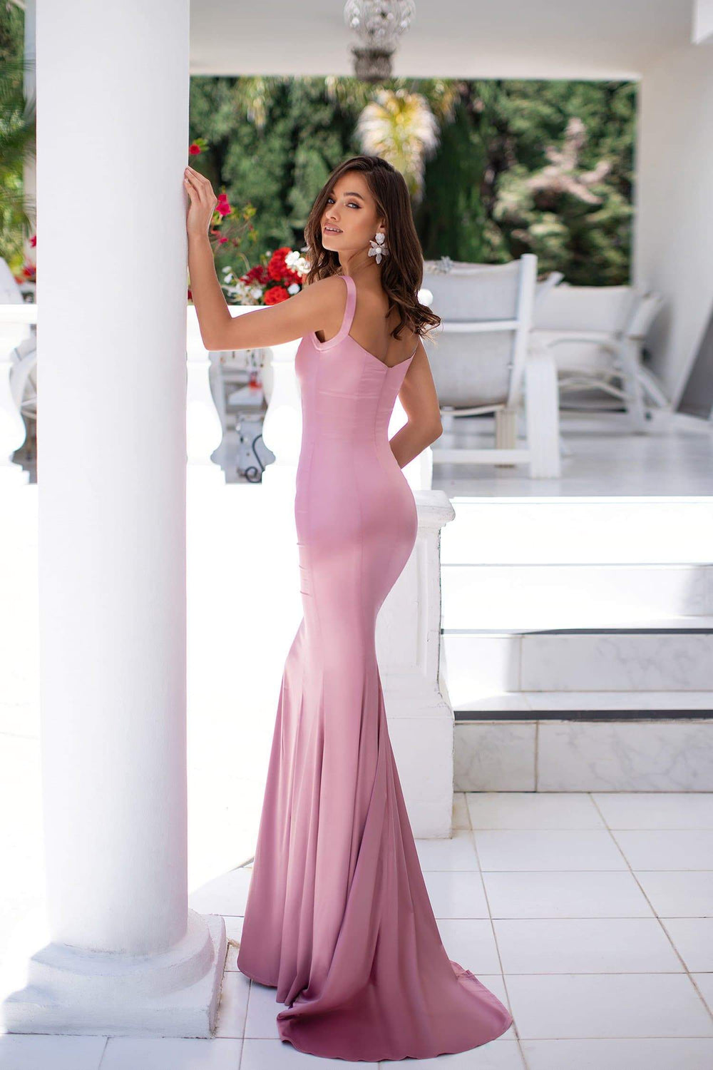 Audrey - Dusty Pink Satin Mermaid Gown with Straight Neckline