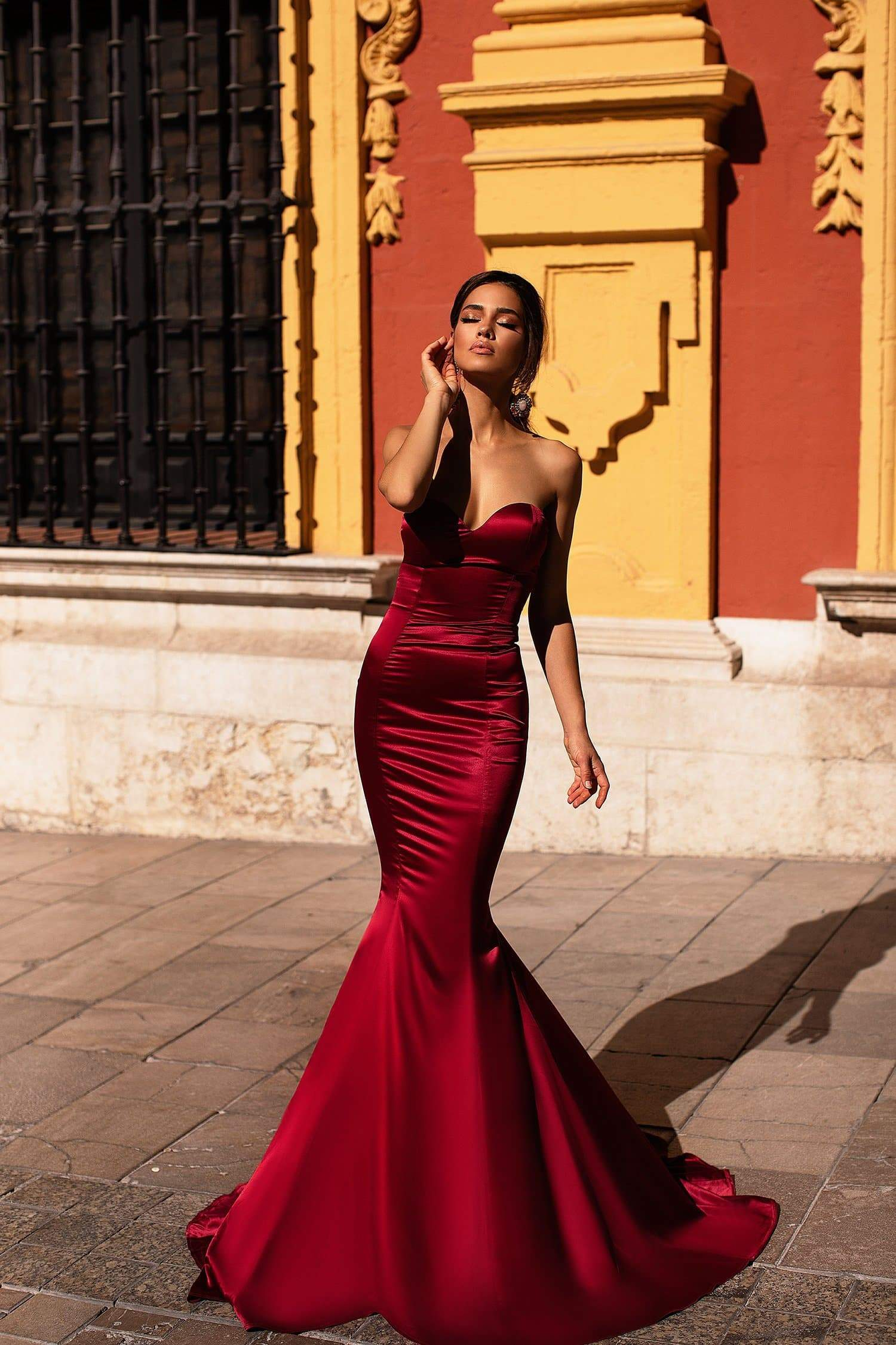 543b477f20 Emely - Wine Red Strapless Satin Mermaid Gown