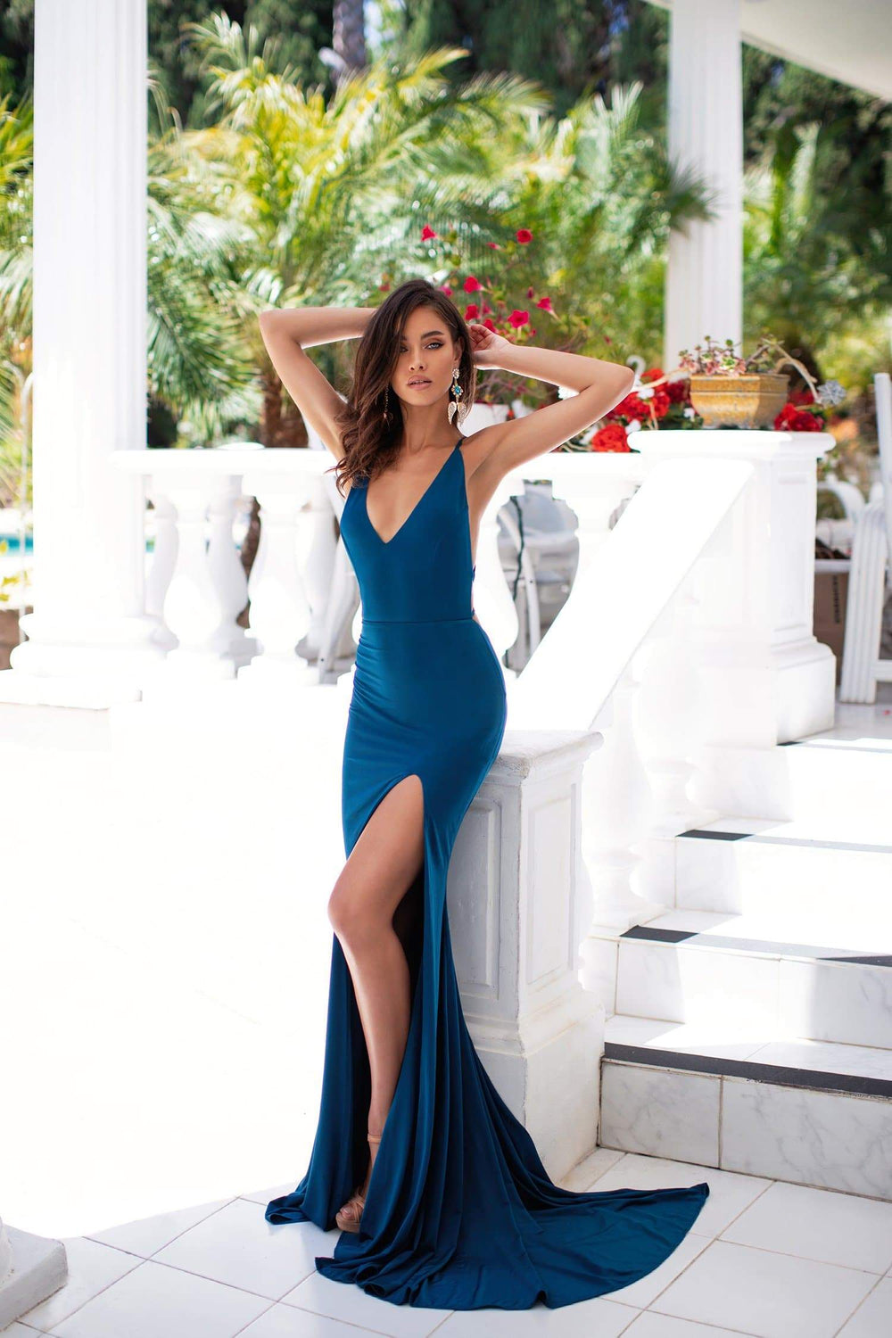 Eliza - Teal Gown with Plunge Neckline, Side Slit & Lace-Up Back