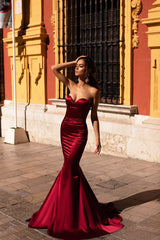 Emely - Wine Red Strapless Satin Mermaid Gown