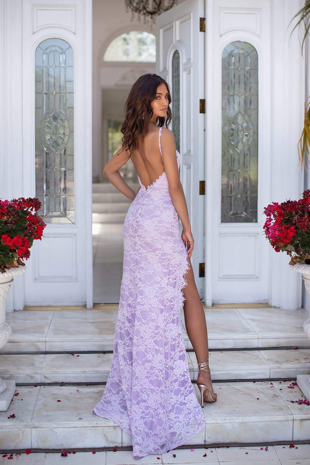 Caliana - Lilac Lace Gown with Classic Bustier, Low Back & Side Slit