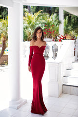 Viola - Wine Red Off-Shoulder Long Sleeve Jersey Gown