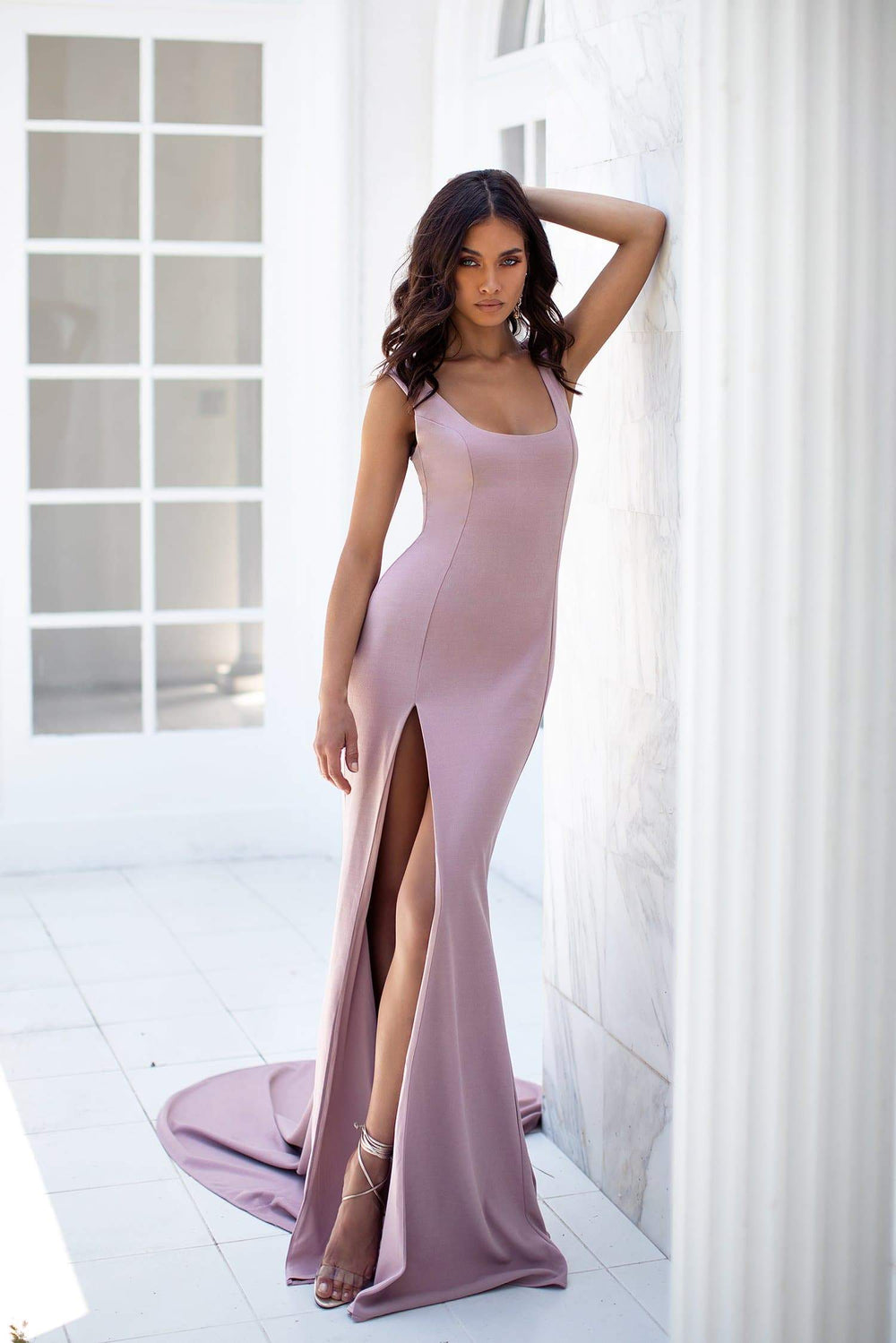 Fernanda - Mauve Scoop Neck Gown with Side Slit & Mermaid Train