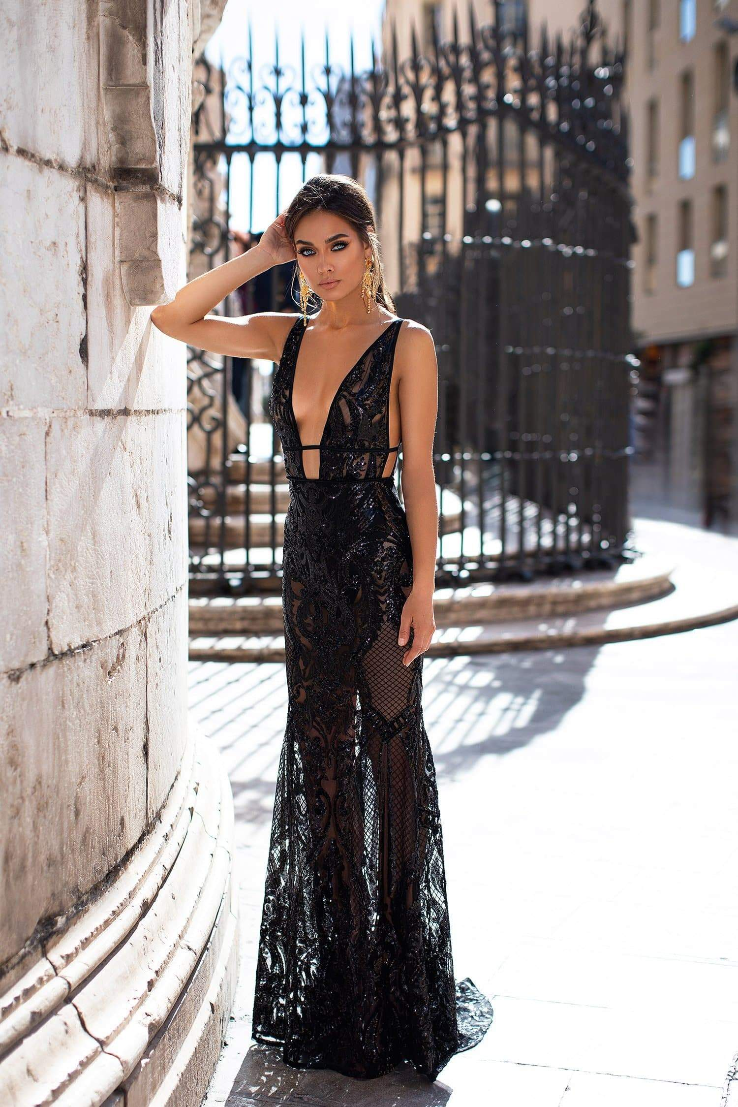 1680bf863b686 Elyse - Black Patterned Sequins Gown with Plunge Neck   Open Back