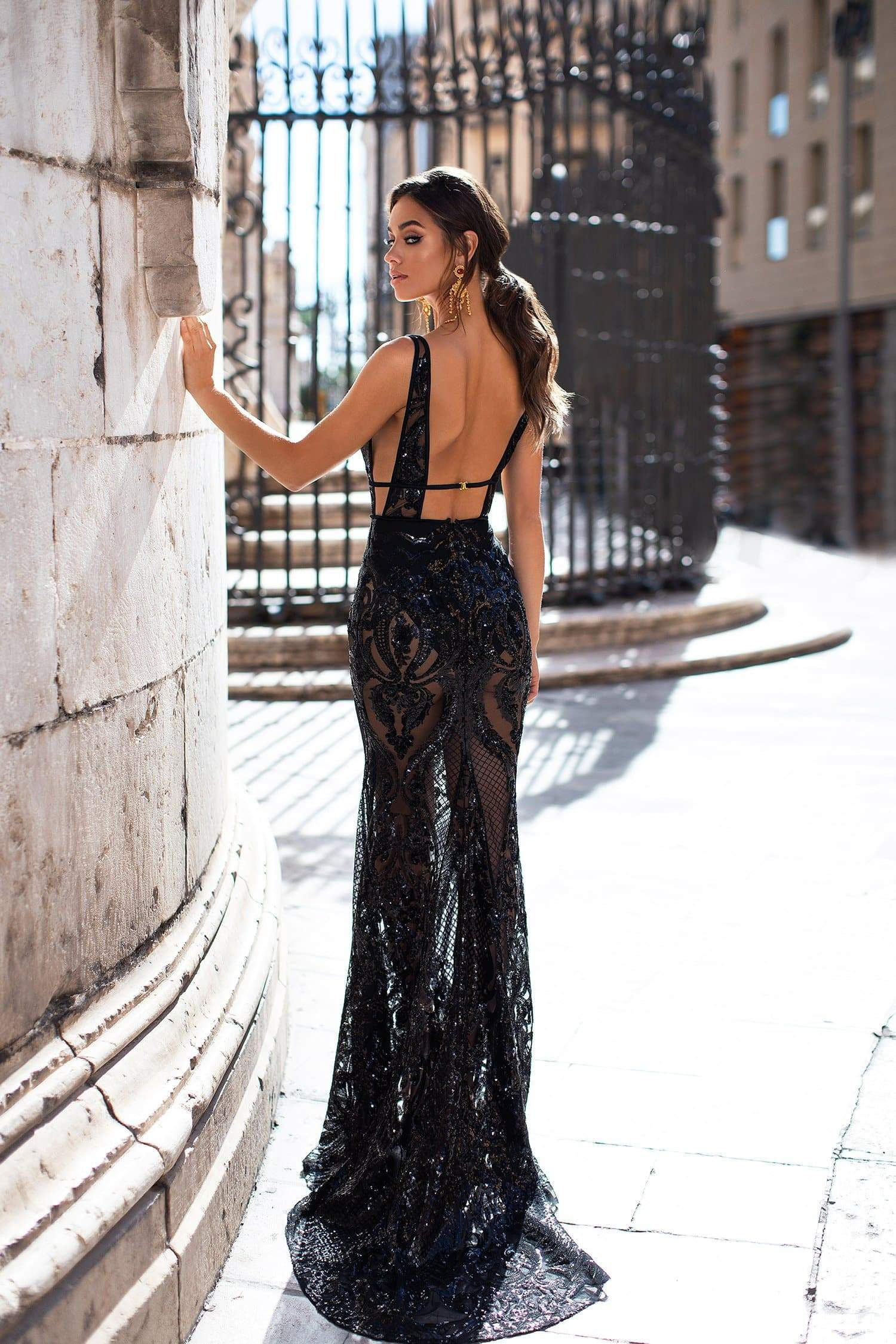 869a72b2e40 Elyse - Black Patterned Sequins Gown with Plunge Neck   Open Back