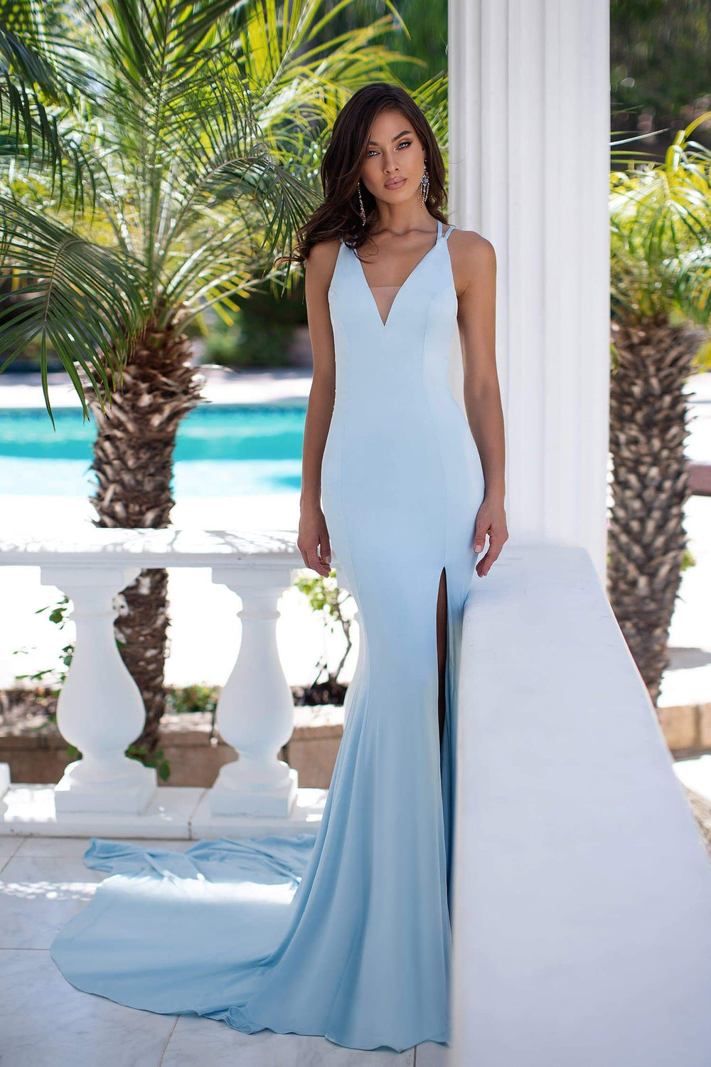 Gianna - Sky Blue Gown with V Neck, Strappy Back Detail & Side Slit