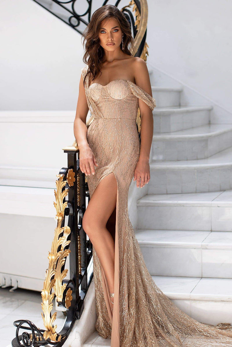Gabriela - Gold Sweetheart Glitter Gown with Nude Lining & Side Slit
