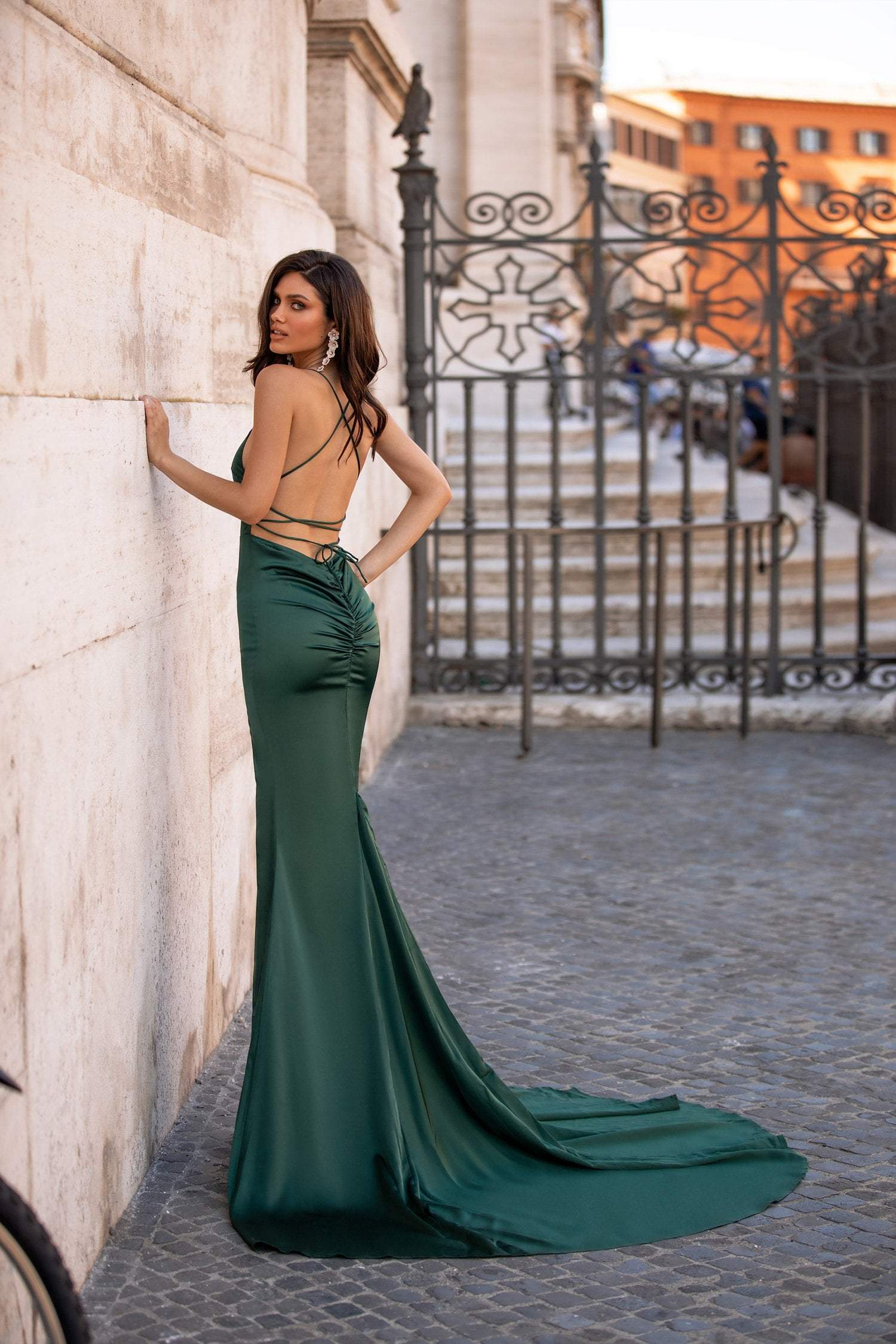 Luciella - Emerald Satin Mermaid Gown with Lace-Up Back & Side Slit