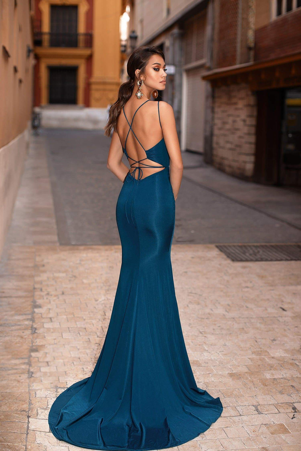 c81244d5b1b7 Maribel - Teal Mermaid Gown with Plunge Neck   Tie-Up Back Detail