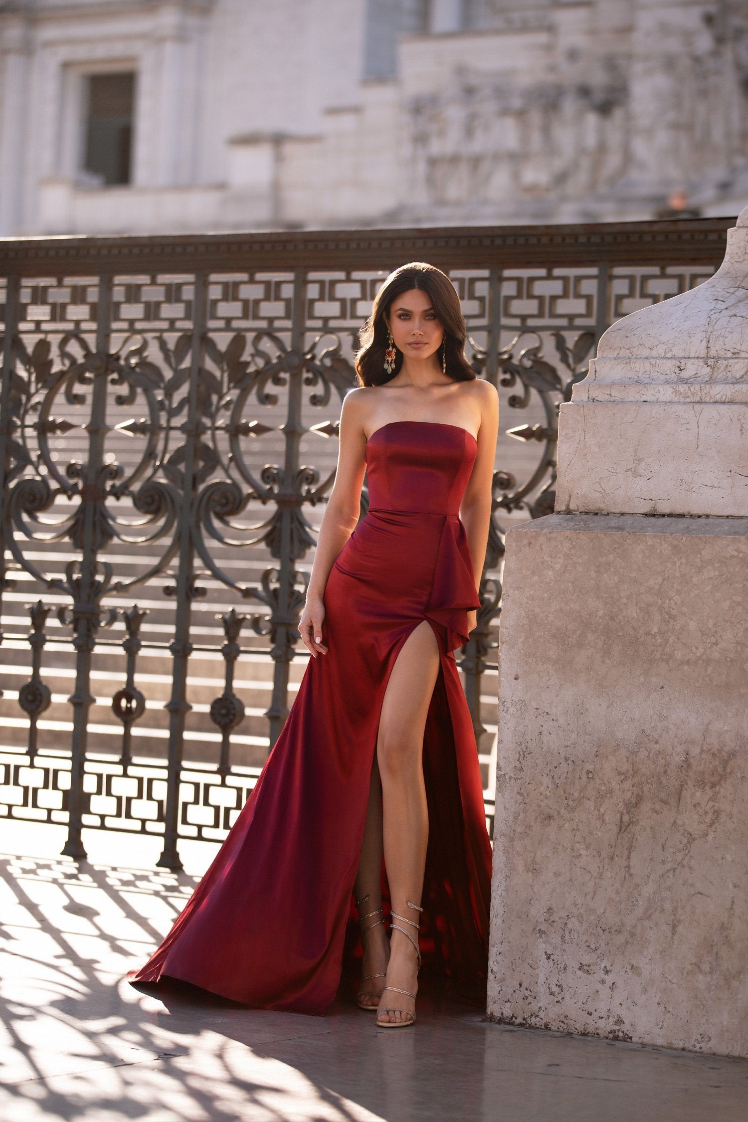 Amidala - Wine Red Strapless Gown with Side Slit & Frill Detail