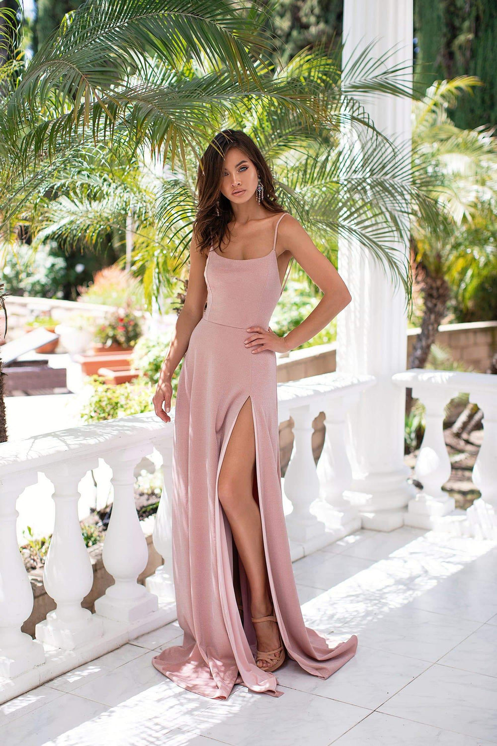 Livia - Dusty Pink Shimmering Gown with Lace-Up Back & Side Slit