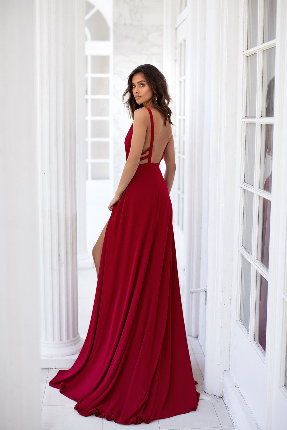 Maritza - Red Jersey Gown with Plunge Neck Detailing & Two Slits
