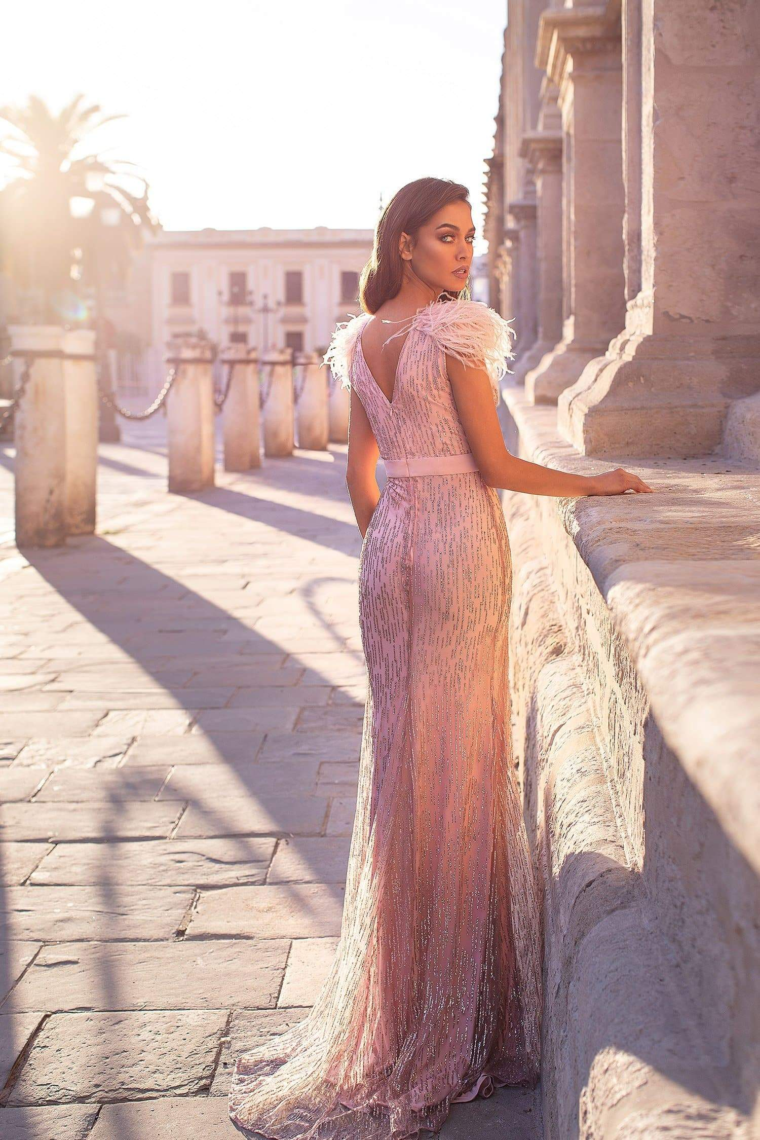 Elanur - Rose Pink Glitter Gown with Plunge Neck & Faux Feather Detail
