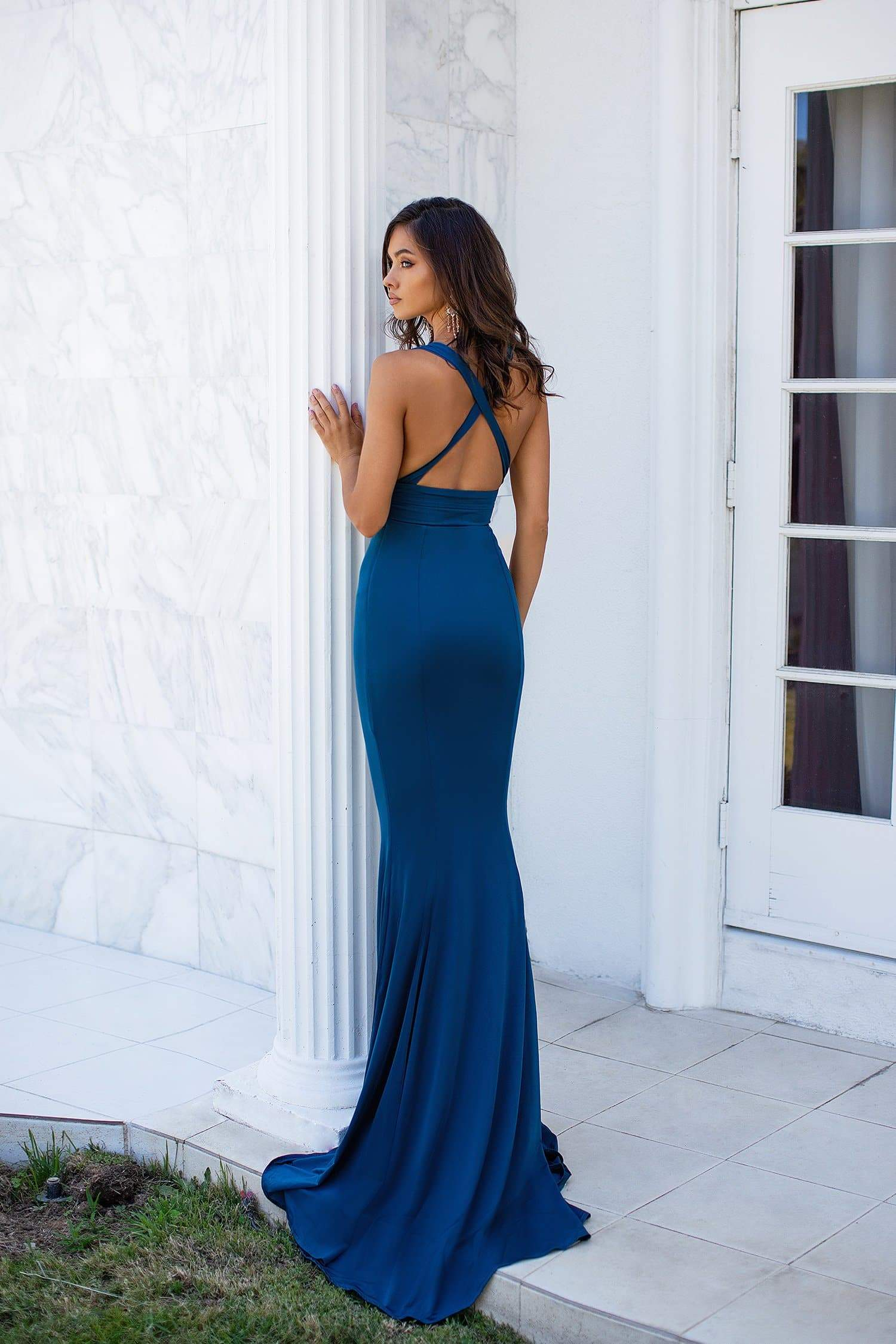 Naomi - Teal Mermaid Gown with Plunge Neckline & Criss Cross Back