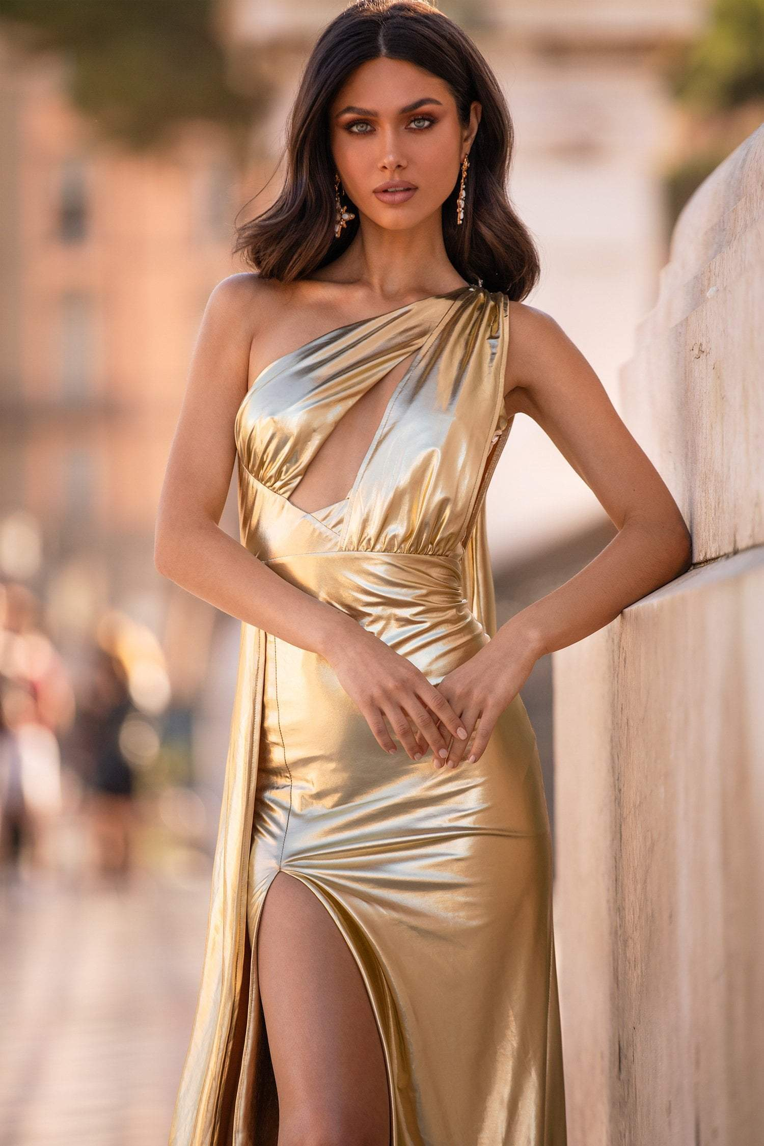 Aryanna - Gold Metallic One Shoulder Cape Sleeve Gown with Side Slit