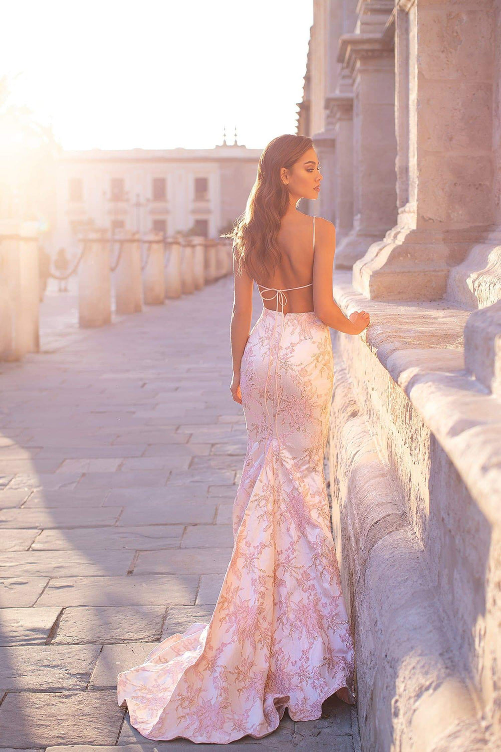 Remas - White, Pink & Gold Mermaid Gown with Straight Neckline & Tie