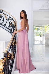 Olivia - Dusty Pink Satin Gown with Scoop Neck, Slits & Lace-Up Back