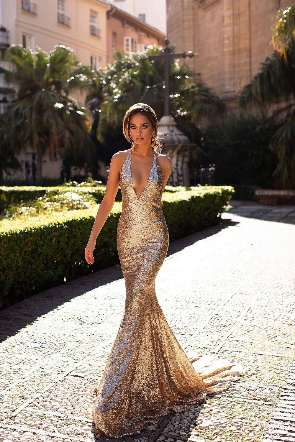 Malika - Gold Halterneck Sequin Mermaid Gown with Low Back
