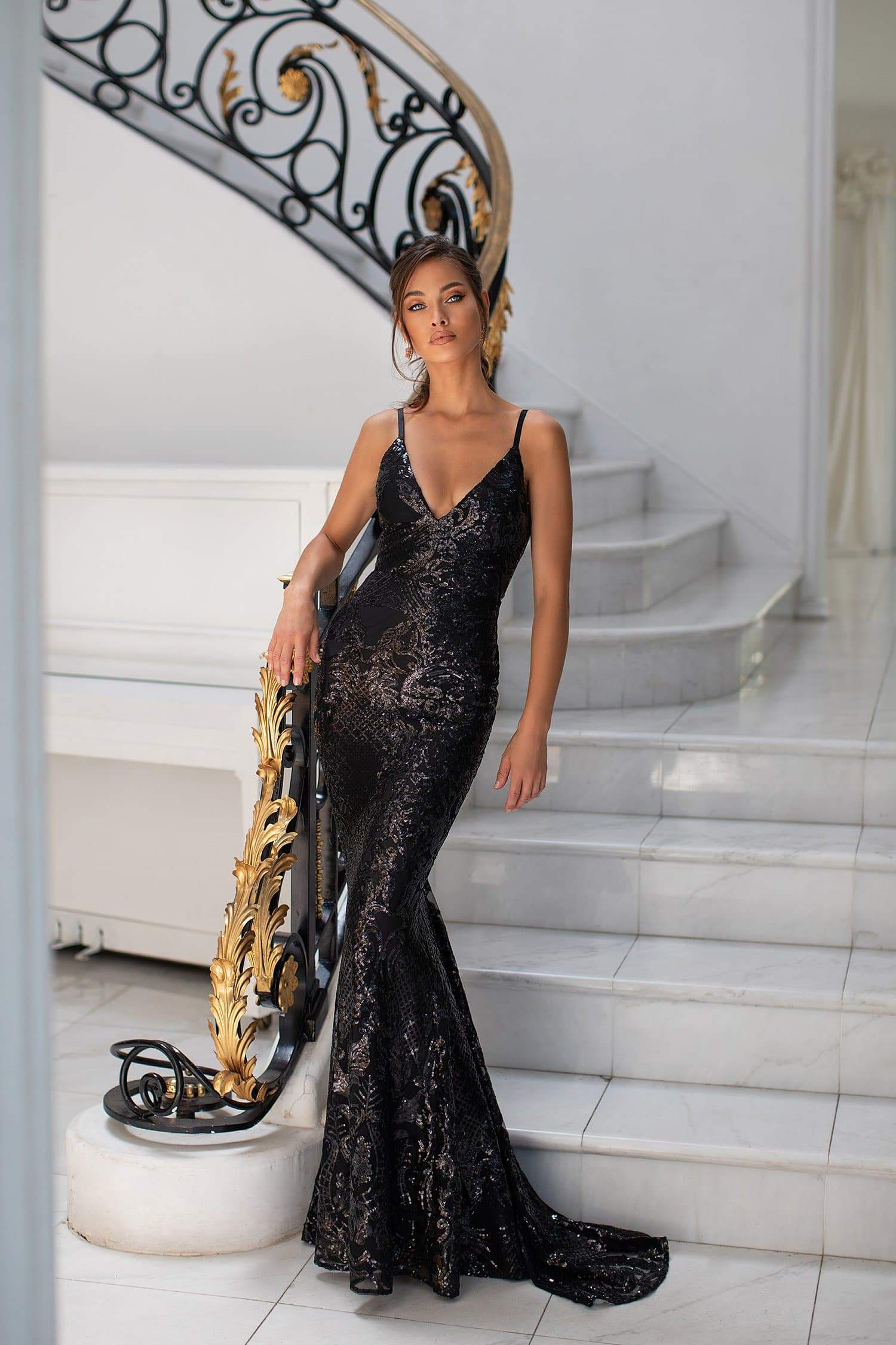 Varina - Black Fitted Sequin Gown with Plunge Neckline & Low Back