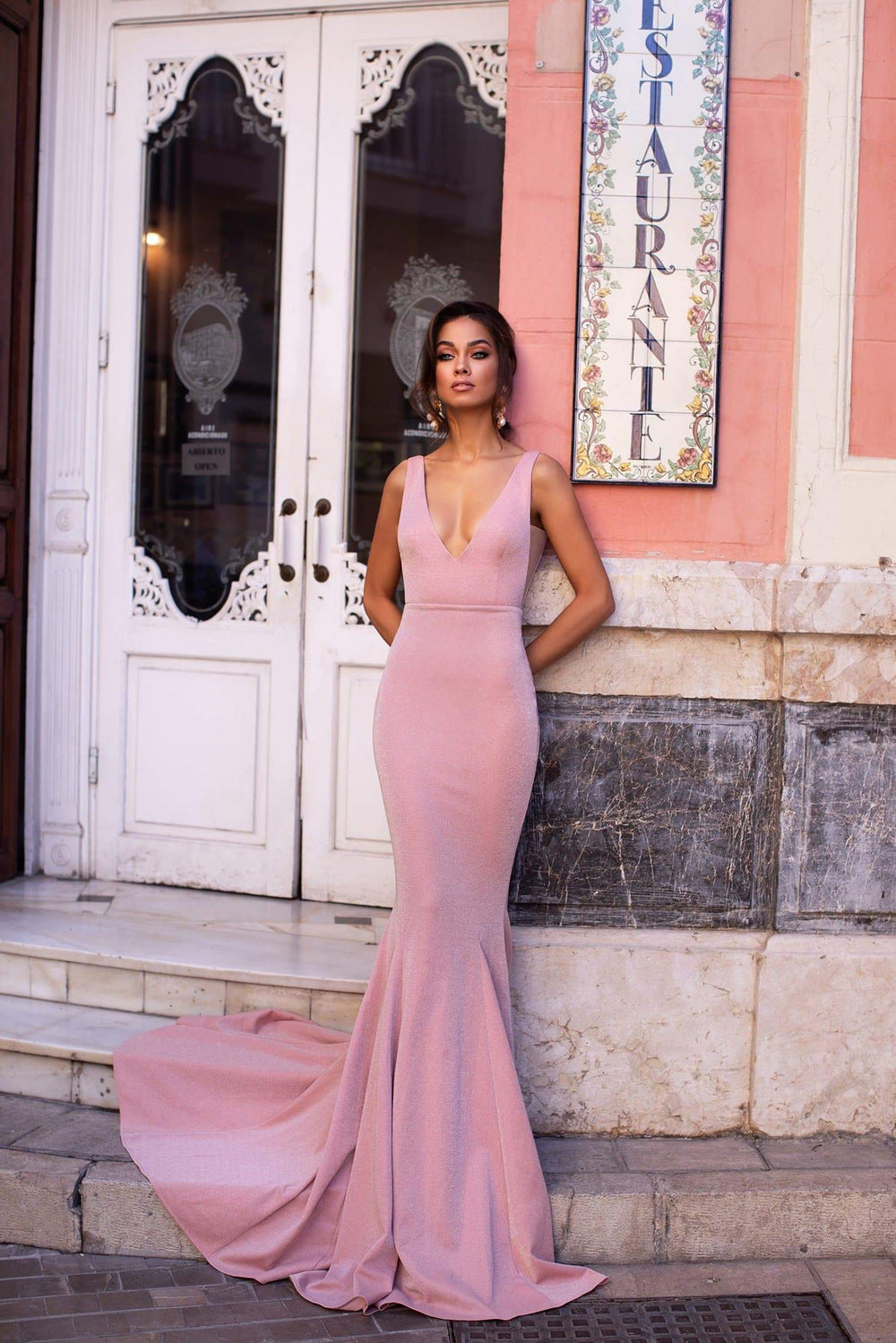Bilquis - Dusty Pink Shimmering Backless Mermaid Gown with Mesh Inserts
