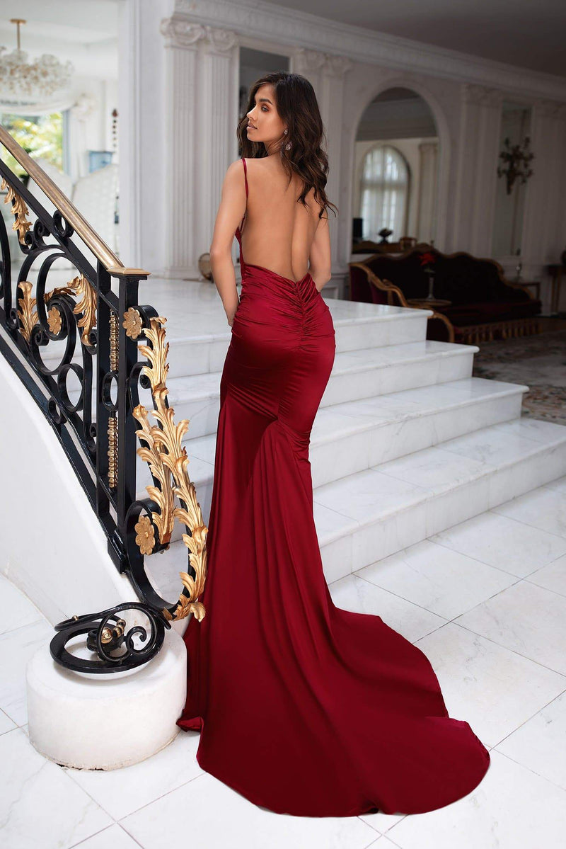 Delara - Wine Red Satin Mermaid Gown with Straight Neckline & Low Back