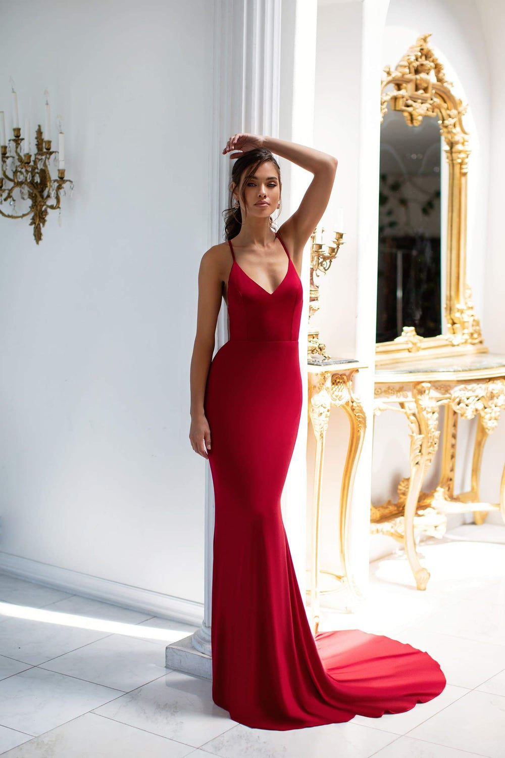 Louise - Wine Red Gown with Plunge Neck, Criss Cross Back & Ruching