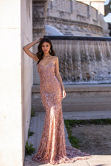 Viviana - Rose Gold Strapless Sequin Tassel Gown with Mermaid Train