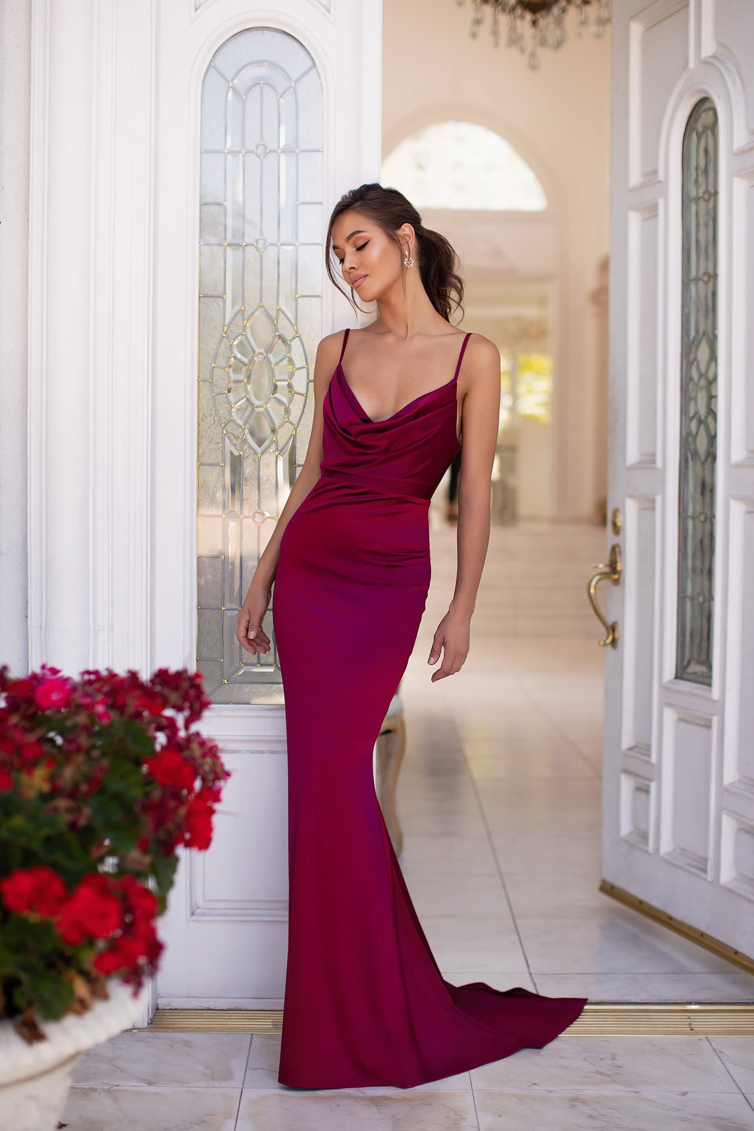 Vamira - Burgundy Satin Gown with Cowl Neck & Thin Straps