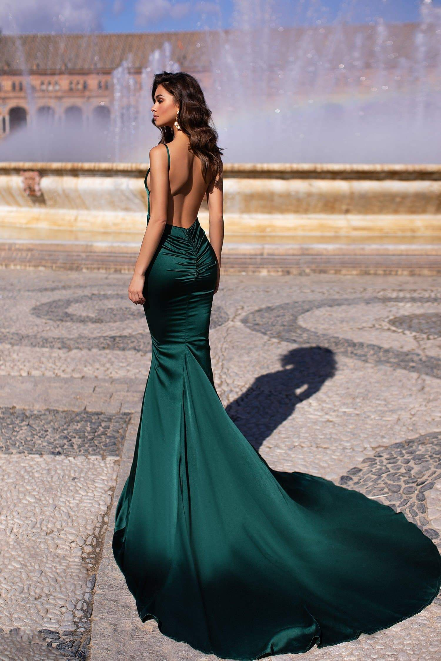 Delara - Emerald Satin Mermaid Gown with Straight Neckline & Low Back