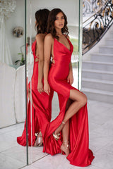 Desirae - Red Cowl Neck Satin Gown with Side Slit & Lace-Up Back