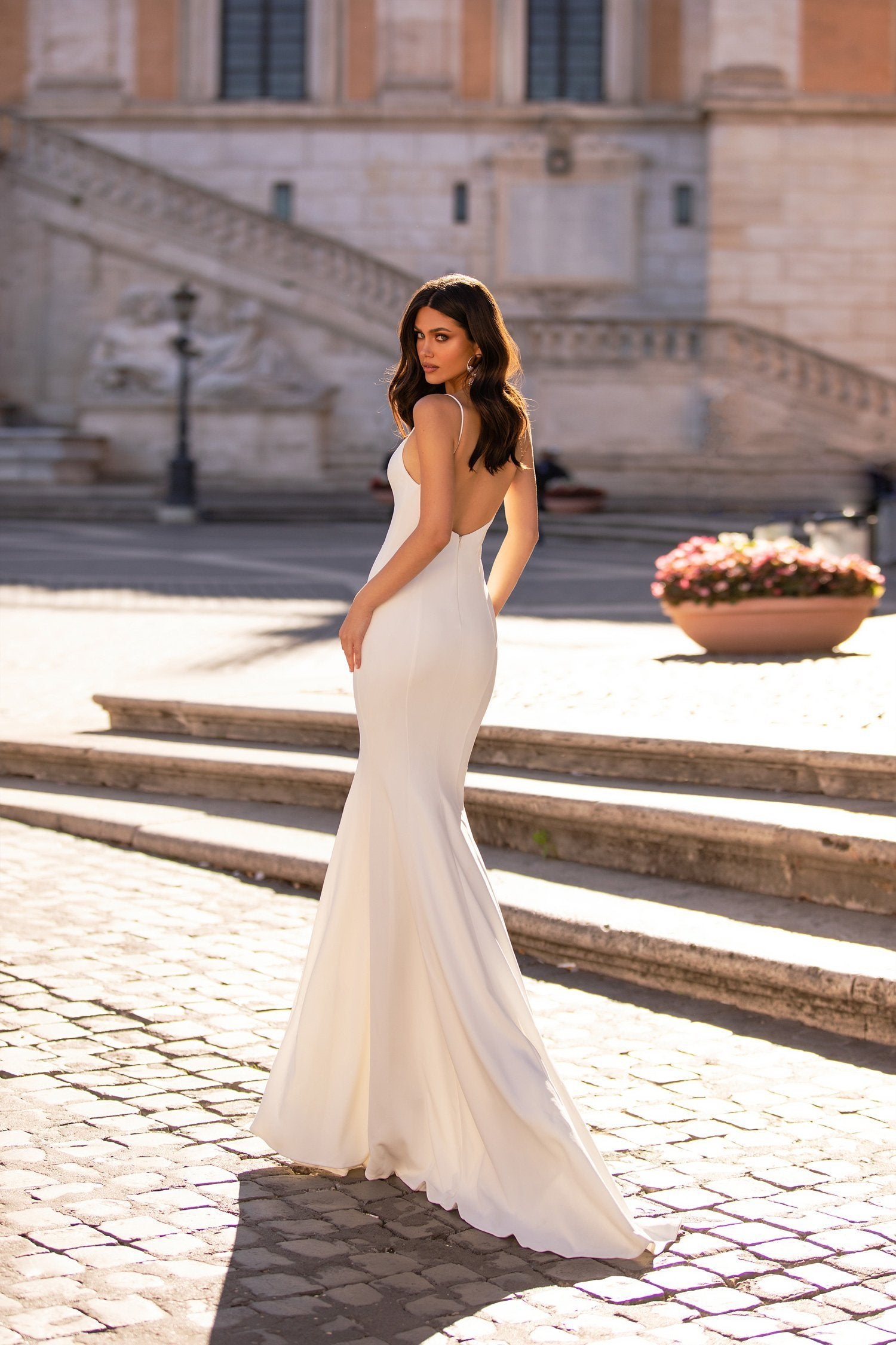 Giorgia - White Backless Crepe Mermaid Gown with Straight Neckline