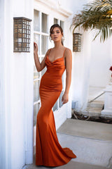 Vamira - Golden Rust Satin Gown with Cowl Neck & Thin Straps