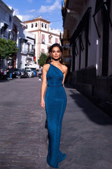Graciela - Teal One Shoulder Mermaid Gown with Grecian Style Waist