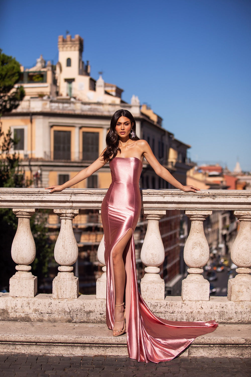 Mabilia - Dusty Pink Strapless Satin Gown With Side Slit