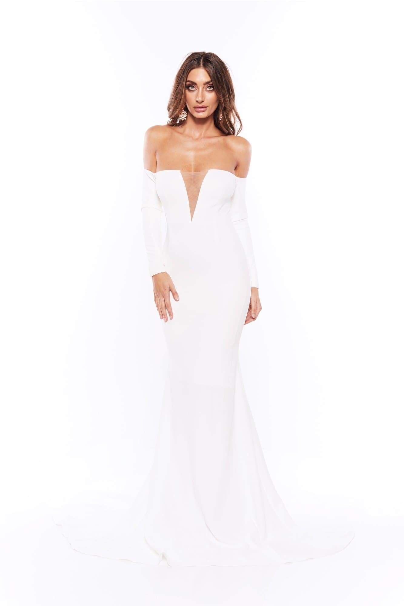 Alexiya - White Crepe Gown with Long Sleeve Off Shoulder Sleeves