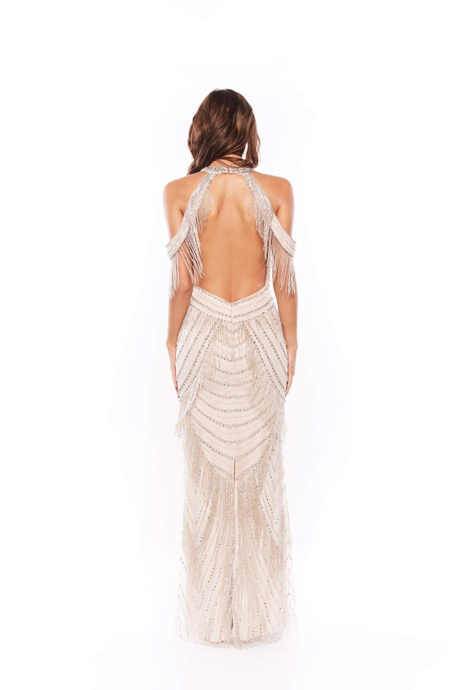 Joeliyn - Backless Beaded Gown | Off-Shoulder Straps & High Neckline