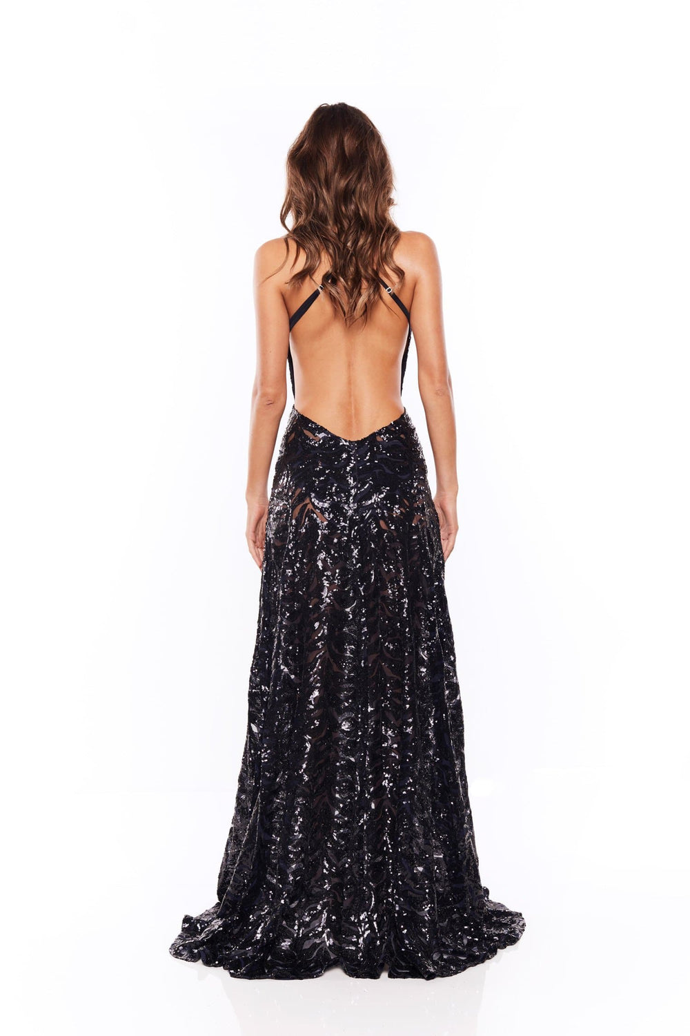 Samira - Navy Sequin Gown with V Neck and Side Slit