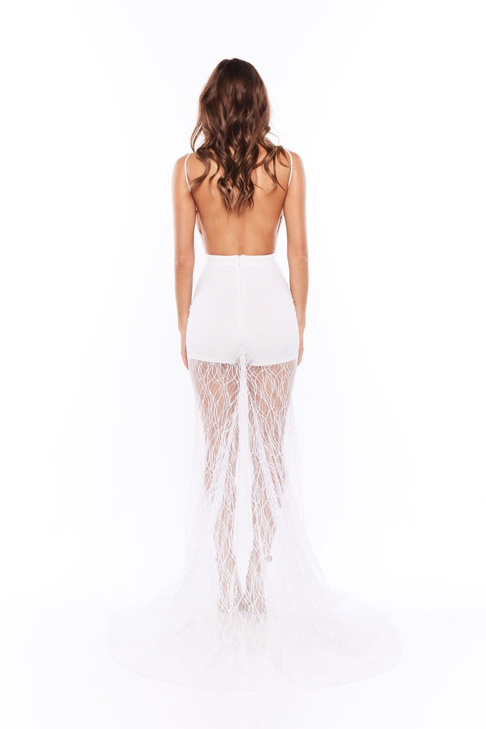 Joella - White Glitter Gown with Low Back & Plunge Neckline