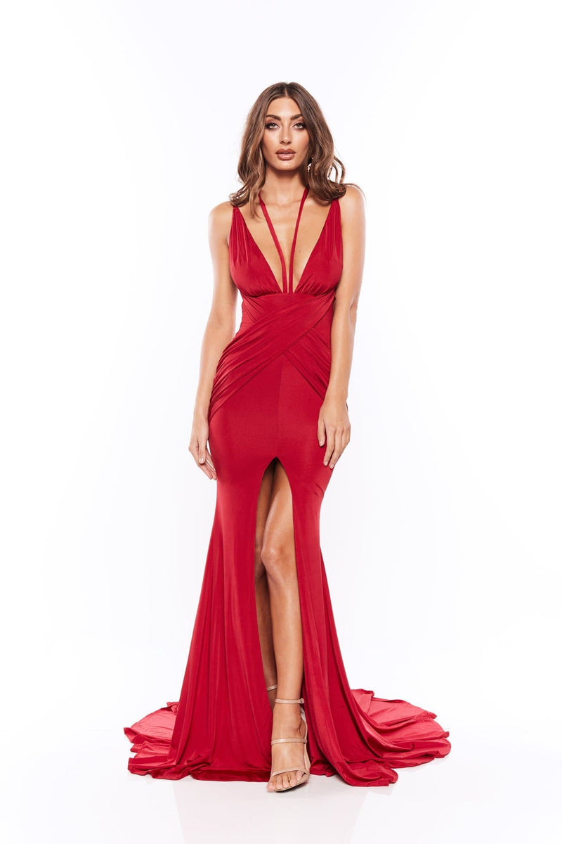 Orlena - Wine Red Gown with Strap Detail, Plunging Neckline & Slit