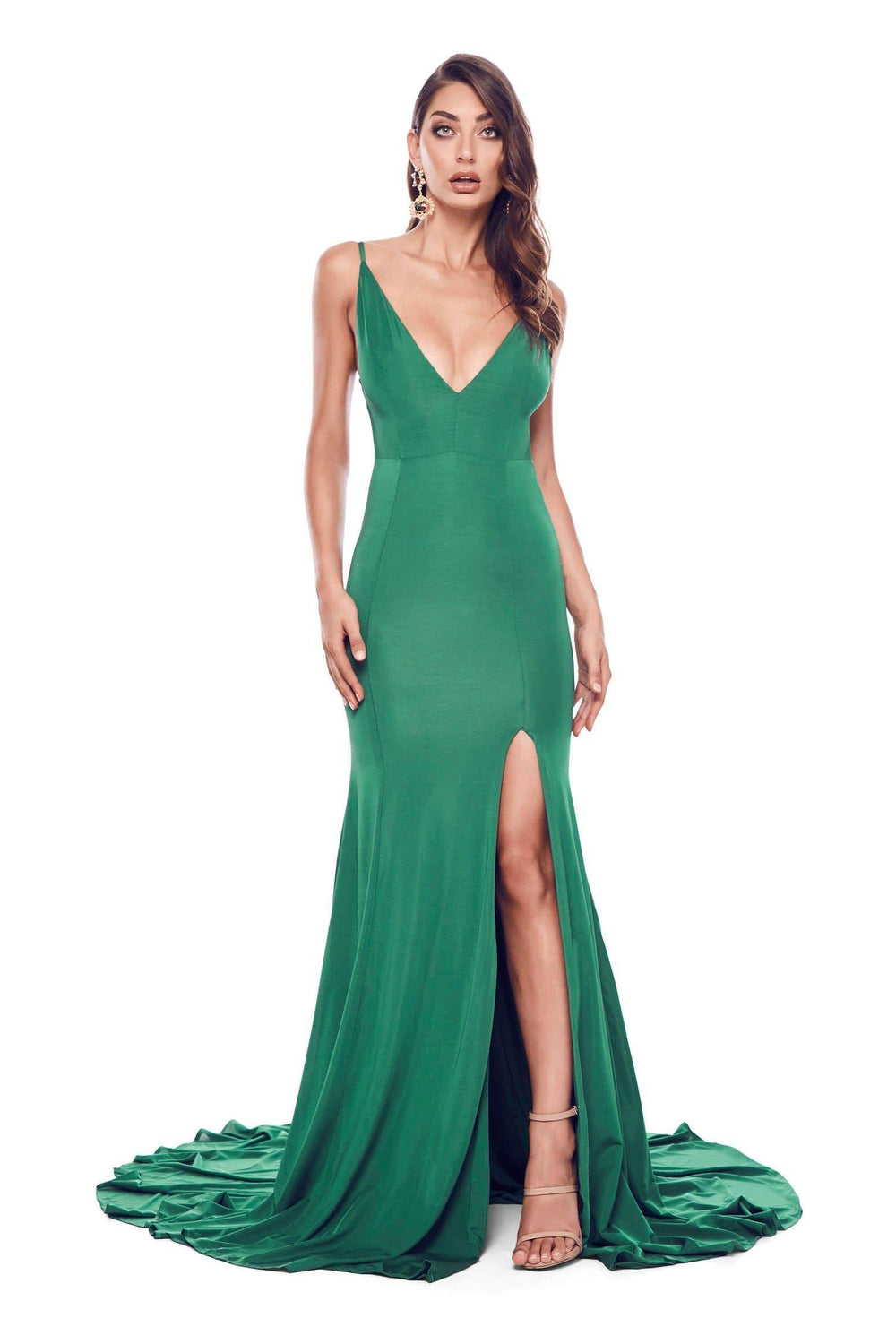 Alyona - Emerald Jersey Gown with Plunge Neck, Open Back & Side Slit