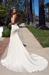 Alyona - White Jersey V Neck Open Back Thigh High Split Mermaid Gown