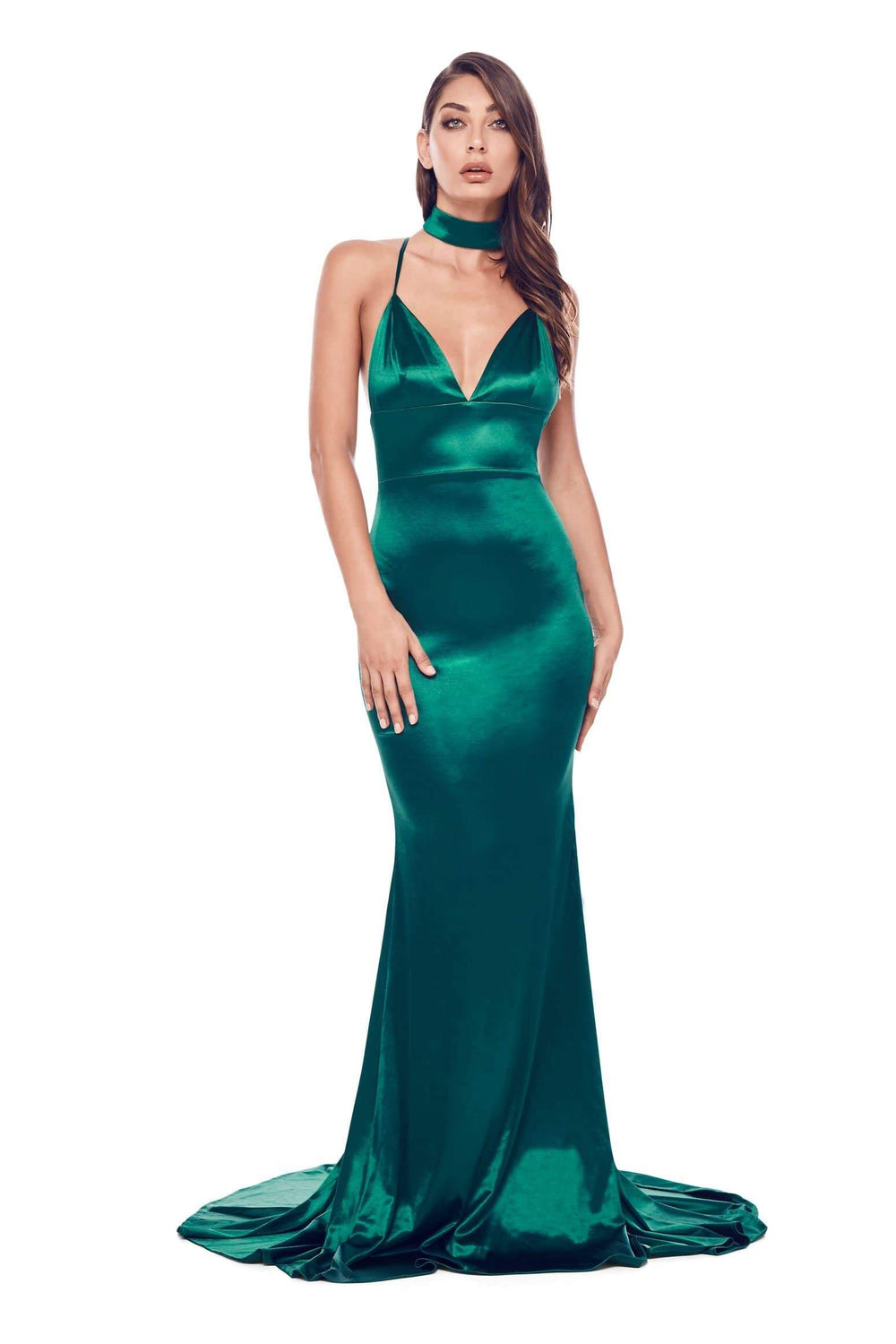 Amina - Emerald Satin Gown with V Neckline, Open Back & Mermaid Train