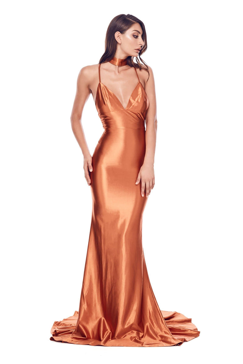 Amina - Golden Rust Satin Gown with V-Neck, Low Back & Mermaid Train