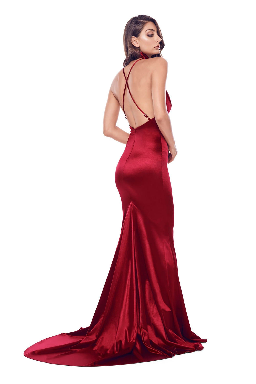 Amina - Wine Red Satin Gown with V-Neckline, Low Back & Mermaid Train