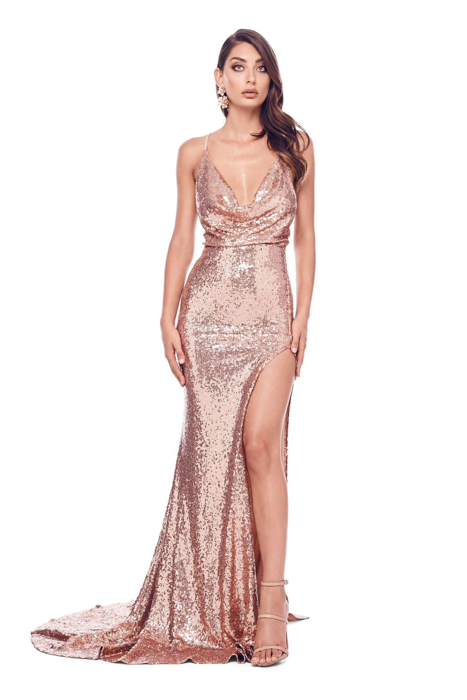 e5f3f4b9e15e9 Andriana - Rose Gold Sequin Gown with Side Slit   Cowl Neckline ...