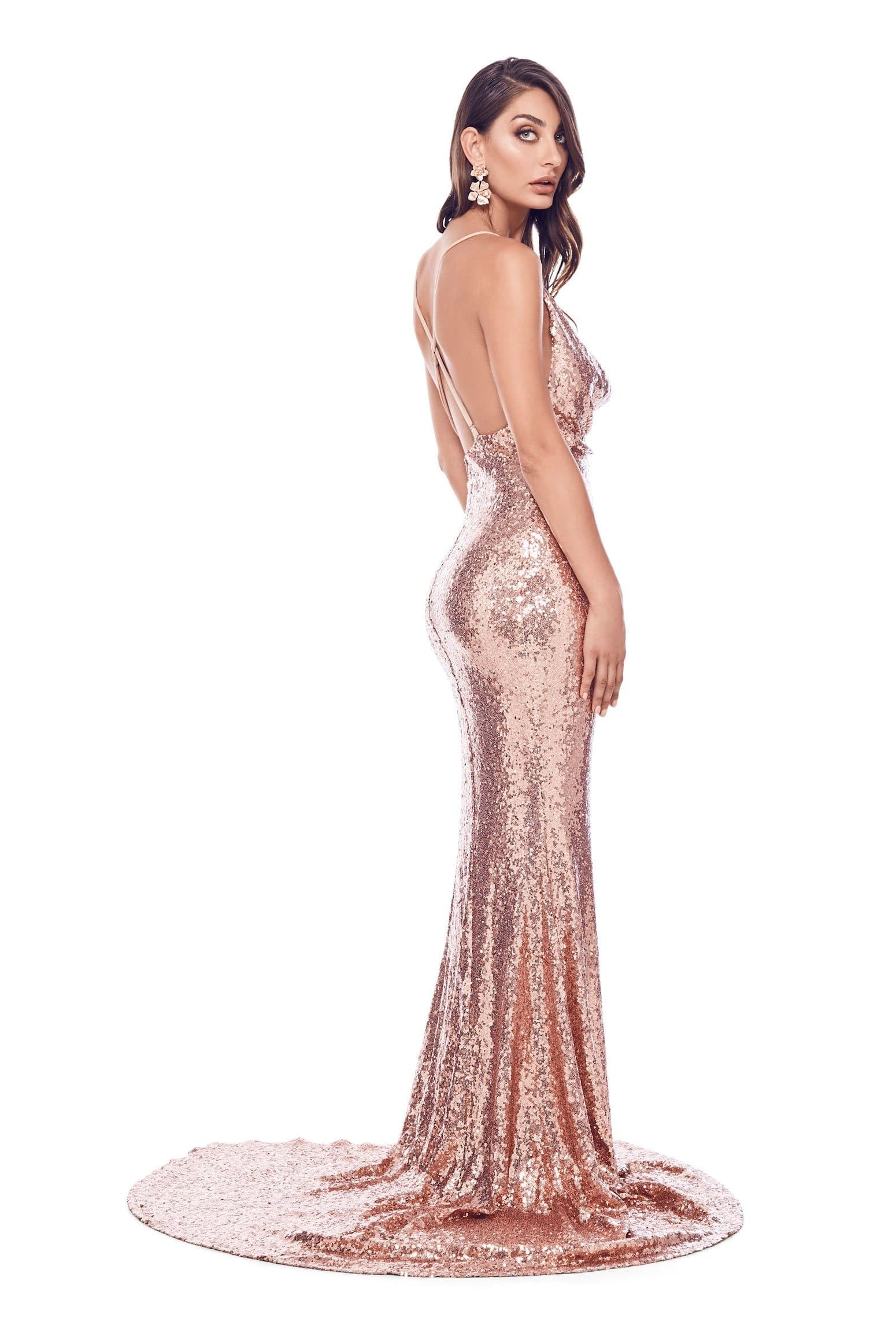 Andriana - Rose Gold Sequin Gown with Side Slit & Cowl Neckline