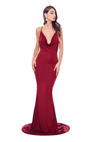 Antonia - Wine Red Jersey Cowl Open Back Criss Cross Mermaid Gown